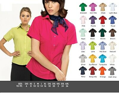 Premier Poplin Ladies Womens Short Sleeve Business Office Work Shirt Blouse Top