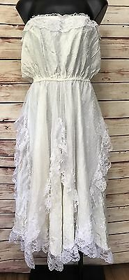 White Cream Tube Top Size S/M Formal/Wedding Dress Lace Trim Layering Asymm Hem