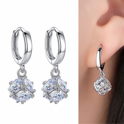 925 Sterling Silver 8mm CZ Love Cube Ball Huggie Hoop Drop Dangle Earrings Boxed