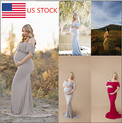 Pregnant Women Ruffle Off Shoulder Maxi Dress Photography Photo Maternity Dress
