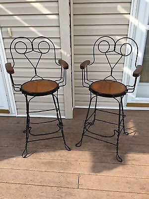 Pair Of RARE Antique Ice Cream Parlor BAR HEIGHT Stools