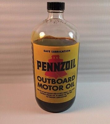 Vintage Pennzoil Outboard Motor Oil Glass Bottle Great Graphics ACL? See Pix!!