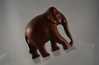 Wooden Elephant Hand Carved Figurine Trunk Down India