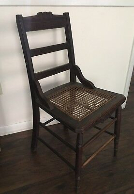 Antique Vintage Wood Ladder Back Chair With Cane Seat
