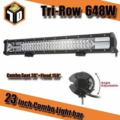 23inch 648W CREE LED Work Driving Light Bar Offroad Spot Flood Truck 4WD SUV