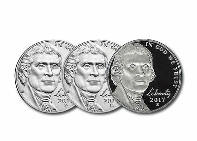 2017 P+D+S Jefferson Nickel Set ~ Uncirculated Coins from Bank Roll / Proof set