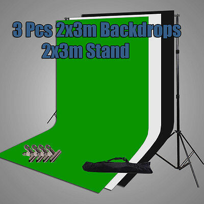 Photography Large 2x3m Black White Green Backdrops Screen Background Support Kit