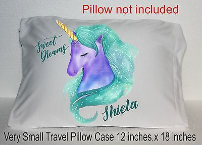 New Unicorn Small Travel Pillow Case Personalized Name Green Purple Water Color