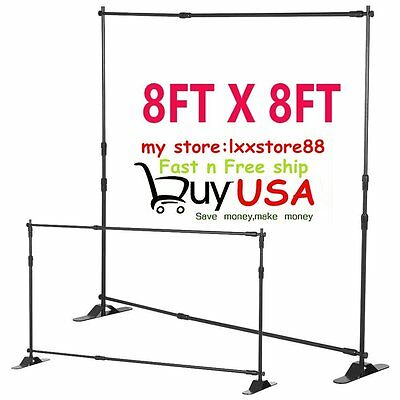 Telescopic Backdrop Stand Adjustable Banner Display Trade Show Wall Exhibitor OY