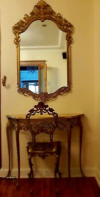 French Ornate Gold Gilt Mirror Vanity Dressing Hall Marble Table Console Chair