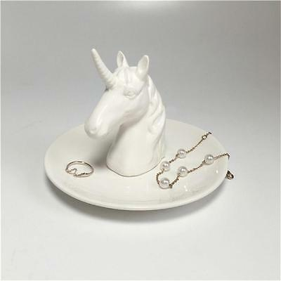 White Unicorn Jewelry Rack Rings Bracelets Earrings Trays Holder Halloween Gift