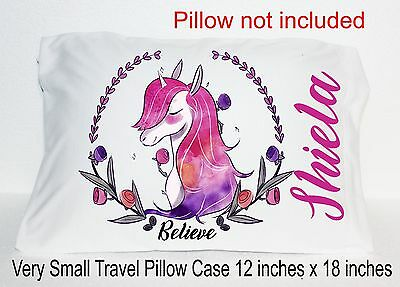 New Unicorn Small Travel Pillow Case Personalized Name Pink Believe Water Color