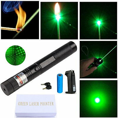 Military 532nm Green Laser Pointer Pen Beam Adjustable  + Battery + Charger +BOX