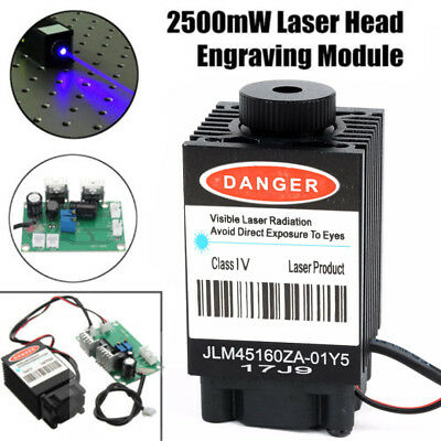 2500mW 445nm Blue Laser Engraving Module Diode w/ TTL 12V For CNC Wood Engraver