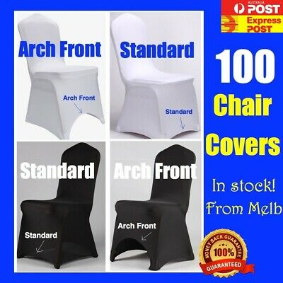 2 - 200 Black White Full Seat Chair Cover Spandex Lycra Stretch Banquet Wedding