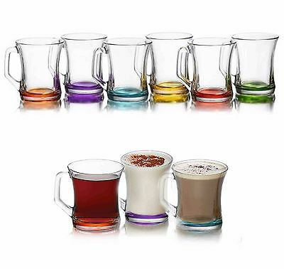 Coloured Set Of 6 Glasses Tea Coffee Cappuccino Cups Hot Drink Mugs Gift
