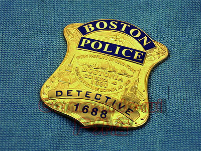 Boston Detective Copper Badges The Usa Real Size Emblem *billfold Not Included!*