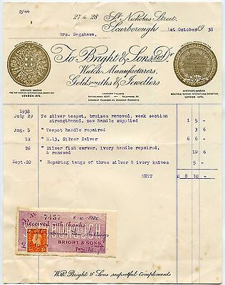 GB 1938 JEWELLERS SCARBOROUGH WATCHES PRIZE MEDALS in GOLD PRINT RECEIPT 2d