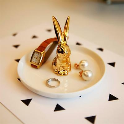 Ceramic Ring White/Gold Rabbit Dish Elegant Jewelry holder Home color radom