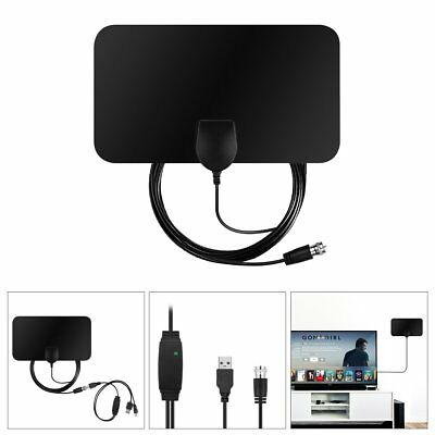 50 Miles Indoor 1080P HDTV TV Flat Digital Antenna High Gain Amplifer & Adapter