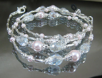 Spectacle/Glasses/Eyewear Beaded Chain Holder– Silver Pink Pearl & Crystal(S360)