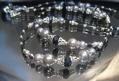 SPECTACLE/GLASSES/EYEWEAR BEADED CHAIN/HOLDER–Blue Pearl & Silver (S276)