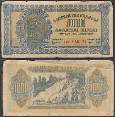 Greece 1000 Drachmai 1941 (F) Condition Banknote P-117