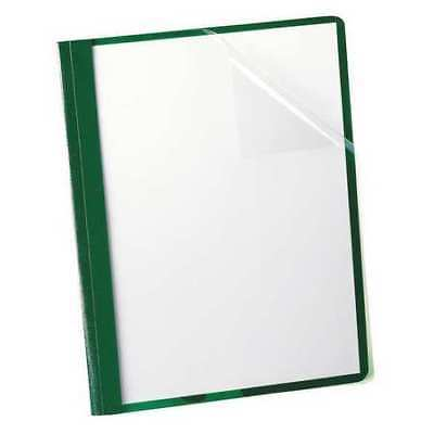 "Clear Front Report Cover 8-1/2 x 11"", Green, 3 Fasteners, Pk25 OXFORD 55807"