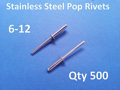 """500 POP RIVETS STAINLESS STEEL BLIND DOME 6-12 4.8mm x 23.5mm 3/16"""""""