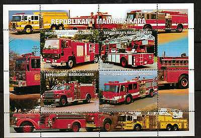 Madagascar 1999 Fire Engines Sheetlet Mnh