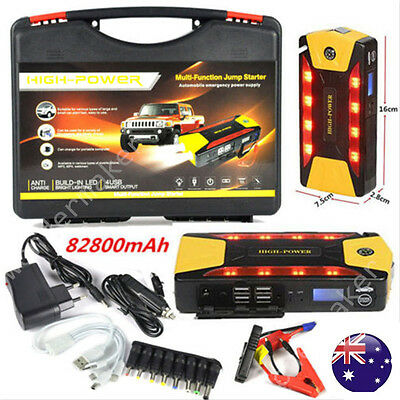 82800mAh 600A Pack Car Jump Starter Emergency Charger Booster Power Bank Battery