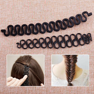 2pcs Women Fashion Lady Hair Styling Hairstyle Clip Stick Bun Maker Braid Tool