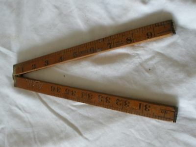 Vintage SYBREN No 73 - 1 metre metric/imperial timber rule - Made in HOLLAND