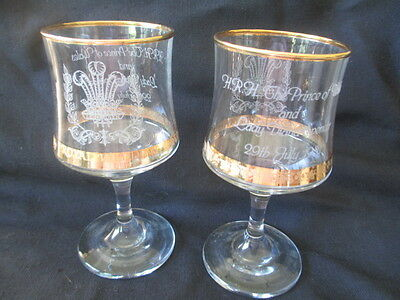 Pair of Commemorative Wine Glasses Wedding of Diana and Prince Charles 1981