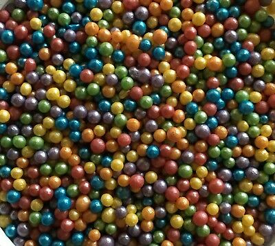 Rainbow Glimmer Pearls 50g, Sprinkles, Edible, Sugarcraft, Cake Decorating,