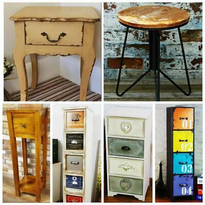 Vintage Country Bedside Side Tables Cabinets Shabby Chic Wooden Tables Furniture