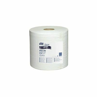 'Tork' Wiping Paper Plus - Centrefeed Roll - 2 Ply White (2 Rolls per Pack)