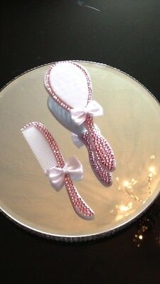 Christening Gift - Brush & Comb Set With Gift Box (Pink Crystals)