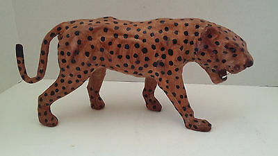 "Handmade Leather Leopard Figurine 14"" Long x 7"" Tall Very Detailed"