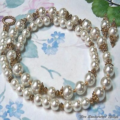 Necklace earrings set, Classic white pearl antique gold clip on or pierced.