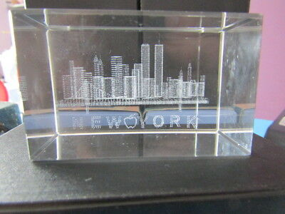 New York Skyline Crystal Paper Weight Including The World Trade Center