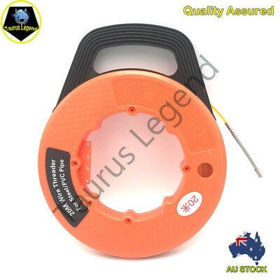 Electrician Wire Threader PVC Steel Pipe Plumbing Hose 20M Snake Fish Tape Reel