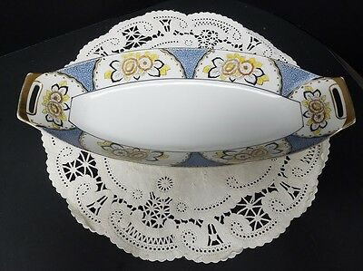 Antique Noritake Hand Painted Celery Dish with Floral Motif