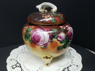 Antique Ligomes Footed Jar with Lid with Hand Painted Pink Rose Motif