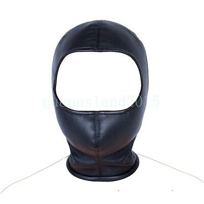 New S&M Black PU-Leather Head Hood gear mouth Mask Open Eye Roleplay Zip up