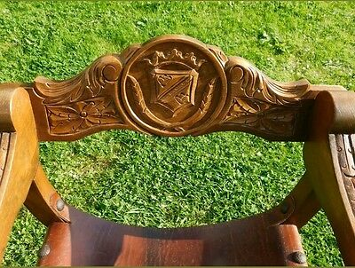 Pair Of Vintage Crown Style Solid Wood Leather Carved Throne Arm Chairs Bargain