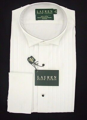 Ralph Lauren All Cotton Formal Shirt Wing Collar  NOW $19.99 Free Black Bow Tie