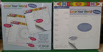 (2) Brown Trout 2017 Weekly Desk Pad Color Your World Coloring Calendar ~ NEW