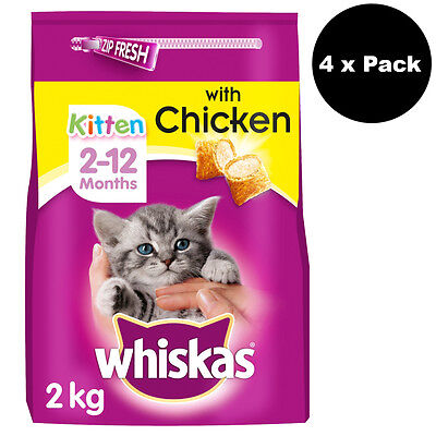 Whiskas 2-12 Months Kitten Complete Dry with Chicken 8kg Dry Cat Food Biscuits