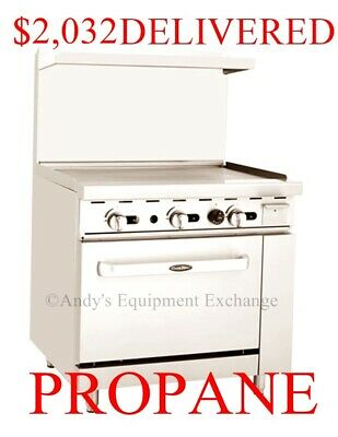 "Propane LP Gas 36"" inch wide (3 foot) Commercial Griddle Range Flat Top + Oven"